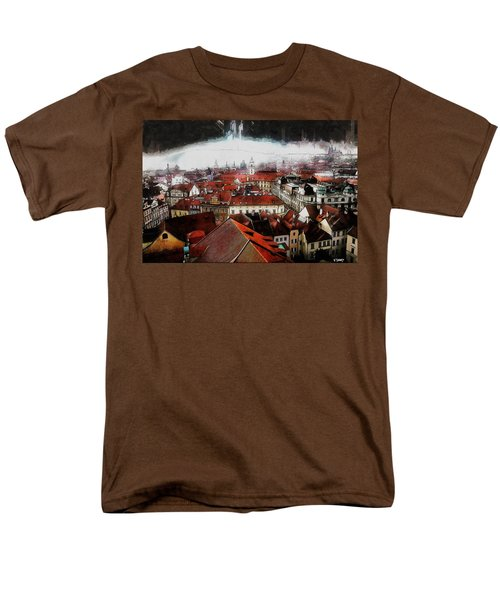 Men's T-Shirt  (Regular Fit) featuring the painting Prague Skyline by Kai Saarto