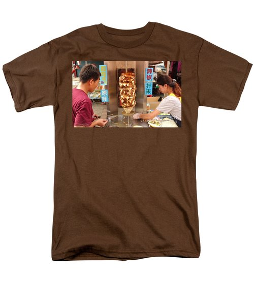 Men's T-Shirt  (Regular Fit) featuring the photograph Preparing Shawarma Meat In Bread Buns by Yali Shi