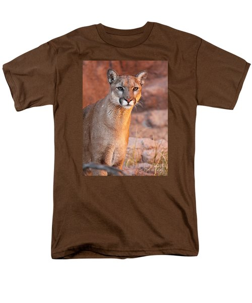 Men's T-Shirt  (Regular Fit) featuring the photograph Puma At Sunset by Max Allen