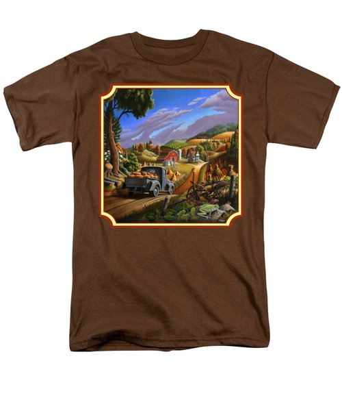 Pumpkins Farm Folk Art Fall Landscape - Square Format Men's T-Shirt  (Regular Fit) by Walt Curlee