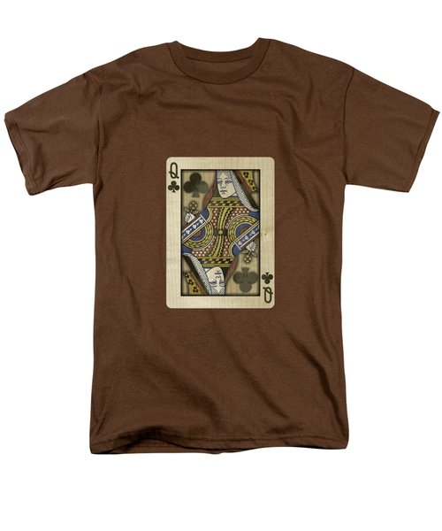 Queen Of Clubs In Wood Men's T-Shirt  (Regular Fit) by YoPedro