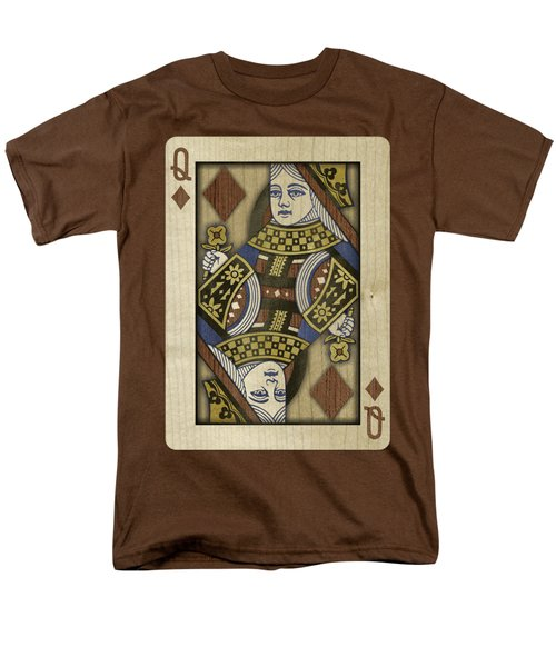 Queen Of Diamonds In Wood Men's T-Shirt  (Regular Fit) by YoPedro