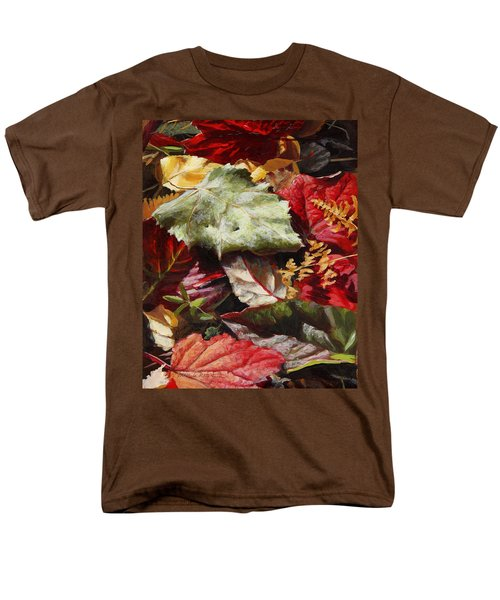 Men's T-Shirt  (Regular Fit) featuring the painting Red Autumn - Wasilla Leaves by Karen Whitworth