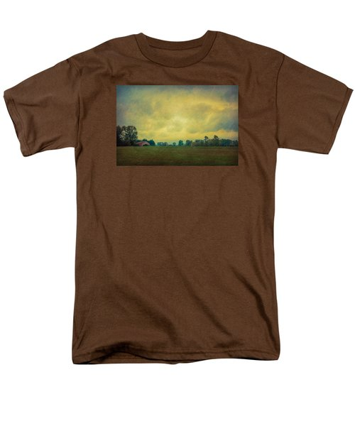 Red Barn Under Stormy Skies Men's T-Shirt  (Regular Fit) by Don Schwartz