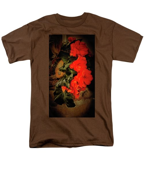 Men's T-Shirt  (Regular Fit) featuring the photograph Red Begonias by Thom Zehrfeld