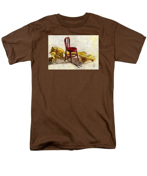Red Chair And Yellow Leaves Men's T-Shirt  (Regular Fit) by Debra Baldwin