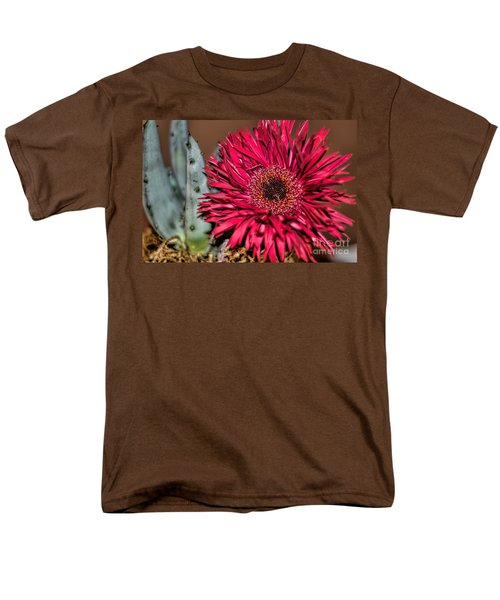 Men's T-Shirt  (Regular Fit) featuring the photograph Red Daisy And The Cactus by Diana Mary Sharpton