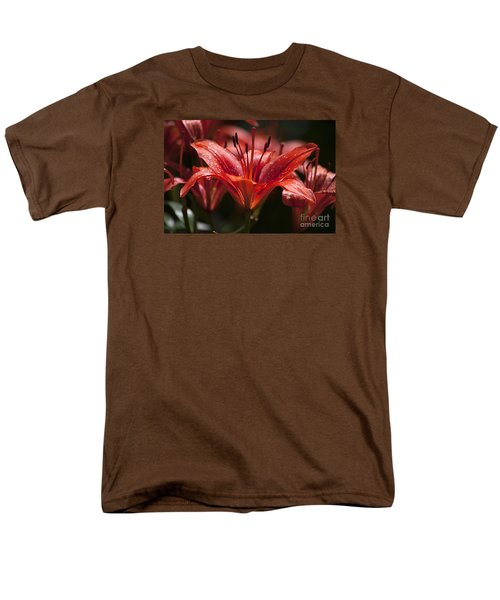 Men's T-Shirt  (Regular Fit) featuring the photograph Red Day Lily 20120615_52a by Tina Hopkins