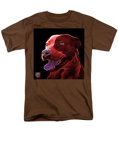 Red Pit Bull Fractal Pop Art - 7773 - F - Bb Men's T-Shirt  (Regular Fit) by James Ahn