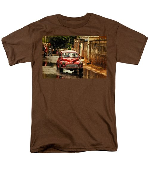 Red Retromobile. Morris Minor Men's T-Shirt  (Regular Fit) by Jenny Rainbow