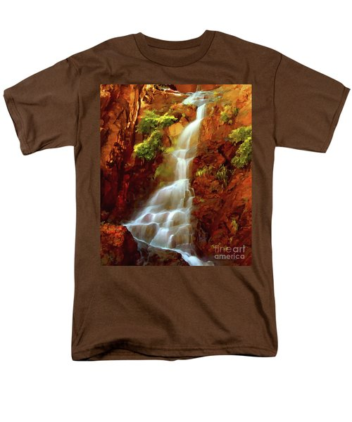 Men's T-Shirt  (Regular Fit) featuring the painting Red River Falls by Peter Piatt
