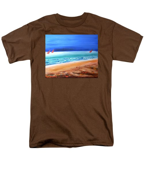 Men's T-Shirt  (Regular Fit) featuring the painting Red Sails by Winsome Gunning