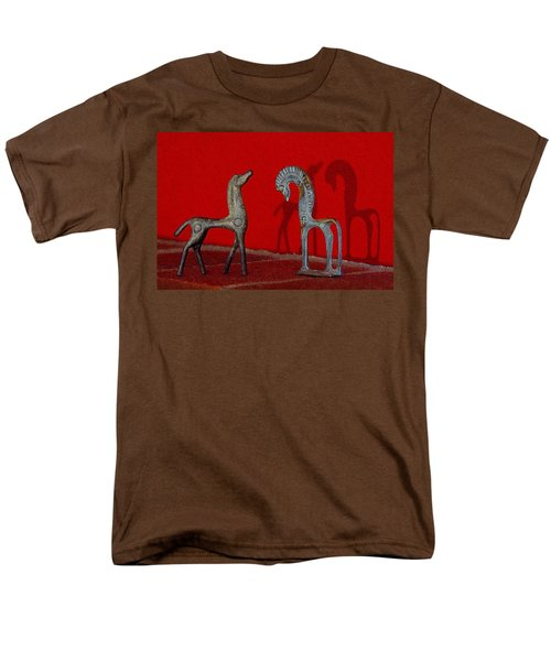 Men's T-Shirt  (Regular Fit) featuring the digital art Red Wall Horse Statues by Jana Russon
