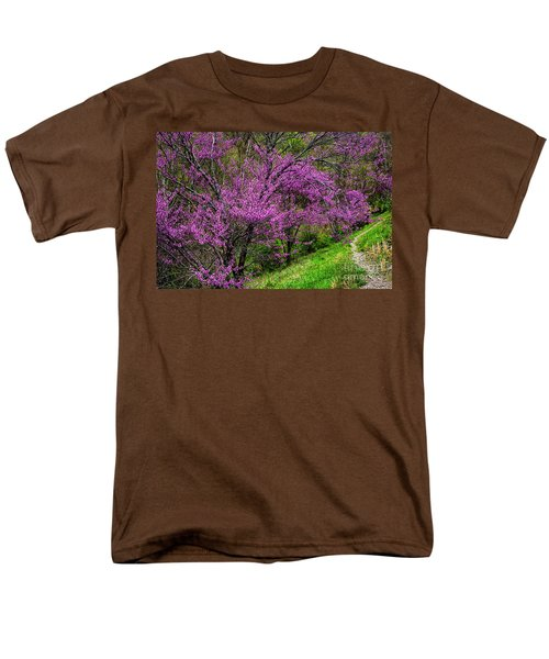 Men's T-Shirt  (Regular Fit) featuring the photograph Redbud And Path by Thomas R Fletcher