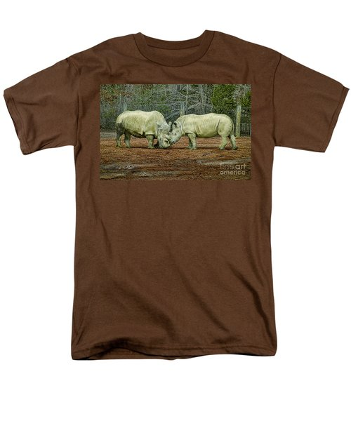 Rhinos In Love Men's T-Shirt  (Regular Fit) by Melissa Messick