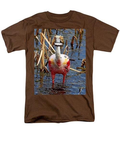 Roseate Spoonbill And Water Drops Men's T-Shirt  (Regular Fit)