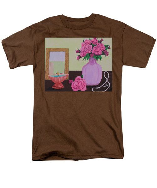Men's T-Shirt  (Regular Fit) featuring the painting Roses And Pearls by Hilda and Jose Garrancho