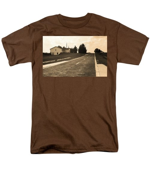 Men's T-Shirt  (Regular Fit) featuring the photograph Route 66 - Brick Highway Sepia by Frank Romeo