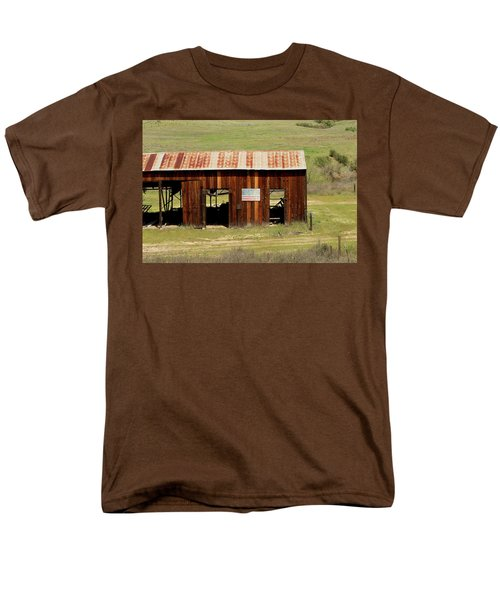 Men's T-Shirt  (Regular Fit) featuring the photograph Rustic Barn With Flag by Art Block Collections