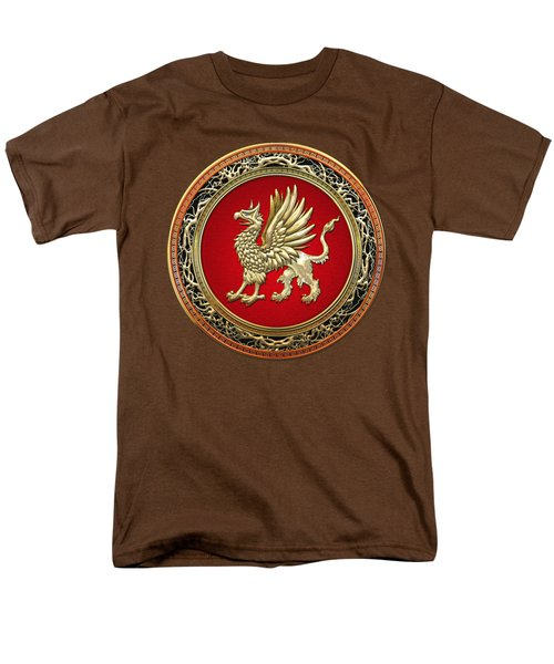 Sacred Gold Griffin On Brown Leather  Men's T-Shirt  (Regular Fit) by Serge Averbukh