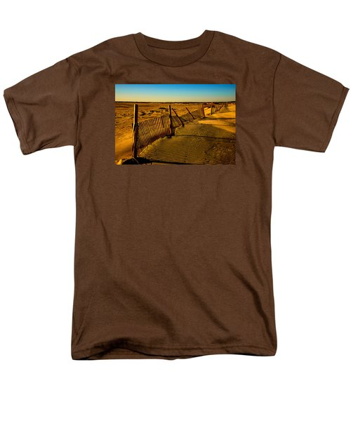 Men's T-Shirt  (Regular Fit) featuring the photograph Sand Fences At Lands End II by John Harding
