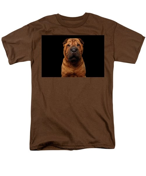 Sharpei Dog Isolated On Black Background Men's T-Shirt  (Regular Fit) by Sergey Taran