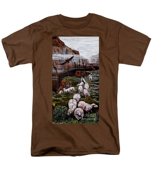 Sheep In The Mountains  Men's T-Shirt  (Regular Fit) by Judy Kirouac