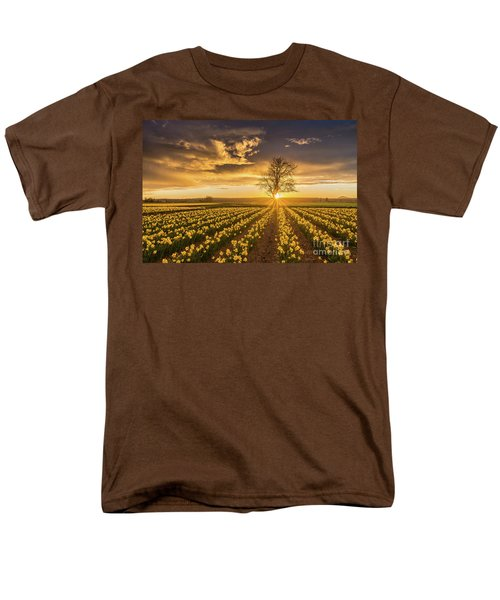 Men's T-Shirt  (Regular Fit) featuring the photograph Skagit Valley Daffodils Sunset by Mike Reid