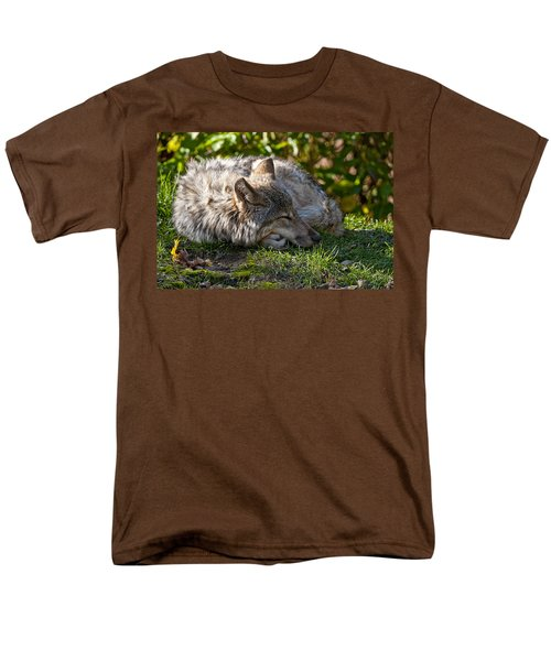 Men's T-Shirt  (Regular Fit) featuring the photograph Sleeping Timber Wolf by Michael Cummings