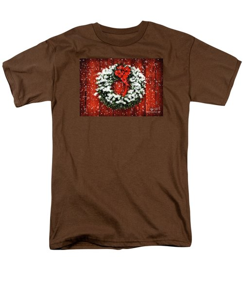 Snowy Christmas Wreath Men's T-Shirt  (Regular Fit) by Lois Bryan