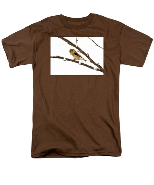 Snowy Day Goldfinch Men's T-Shirt  (Regular Fit) by Betty Pauwels