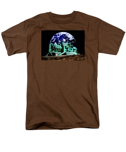 Men's T-Shirt  (Regular Fit) featuring the painting Space Station Omega by Mario Carini