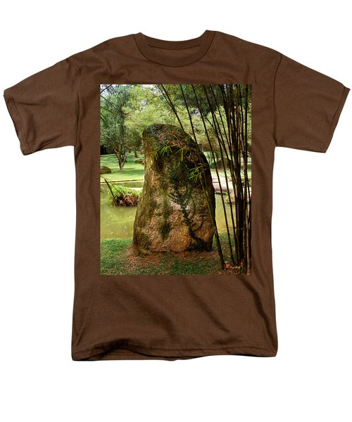 Standing Stone With Fern And Bamboo 19a Men's T-Shirt  (Regular Fit) by Gerry Gantt