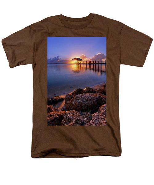 Starburst Sunset Over House Of Refuge Pier In Hutchinson Island At Jensen Beach, Fla Men's T-Shirt  (Regular Fit) by Justin Kelefas