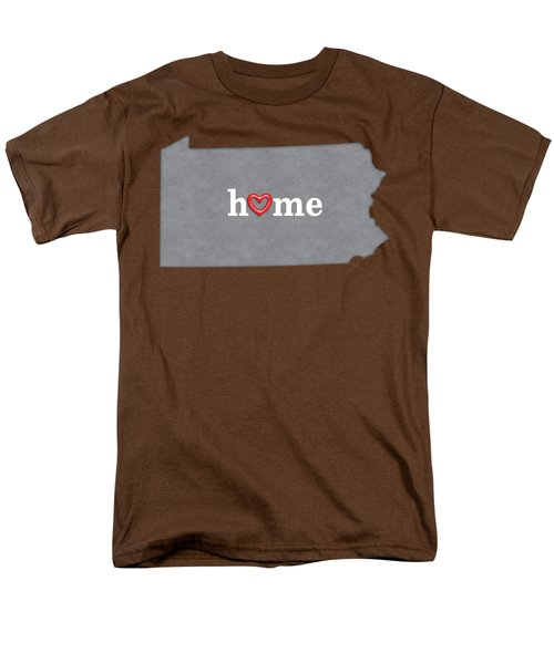 State Map Outline Pennsylvania With Heart In Home Men's T-Shirt  (Regular Fit) by Elaine Plesser