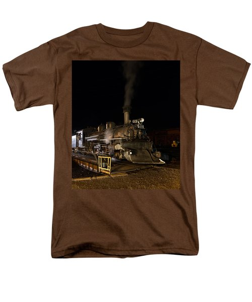 Men's T-Shirt  (Regular Fit) featuring the photograph Locomotive And Coal Tender On A Turntable Of The Durango And Silverton Narrow Gauge Railroad by Carol M Highsmith