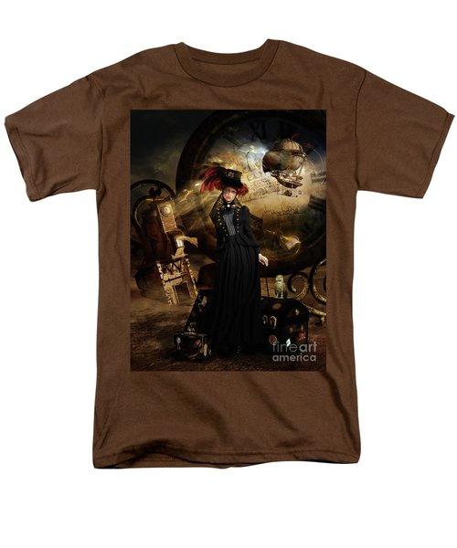 Men's T-Shirt  (Regular Fit) featuring the digital art Steampunk Time Traveler by Shanina Conway