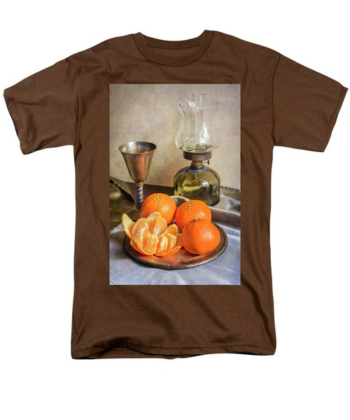 Men's T-Shirt  (Regular Fit) featuring the photograph Still Life With Oil Lamp And Fresh Tangerines by Jaroslaw Blaminsky