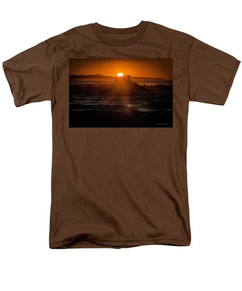 Men's T-Shirt  (Regular Fit) featuring the photograph Sun Setting Behind Santa Cruz Island by John A Rodriguez