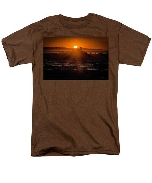 Sun Setting Behind Santa Cruz Island Men's T-Shirt  (Regular Fit) by John A Rodriguez