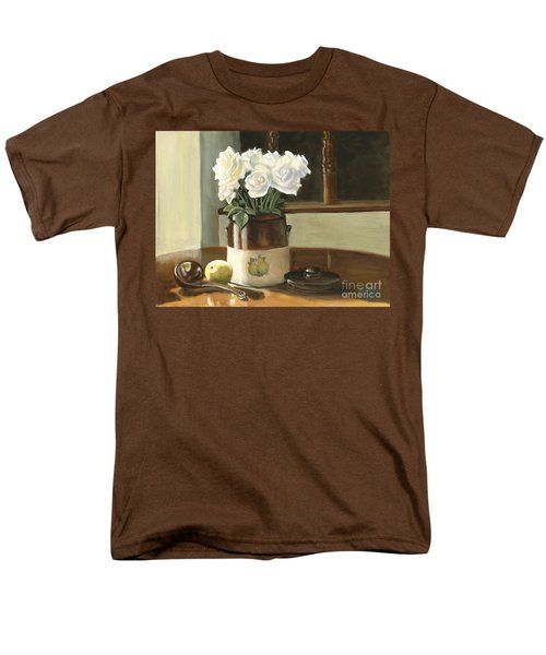 Men's T-Shirt  (Regular Fit) featuring the painting Sunday Morning And Roses - Study by Marlene Book