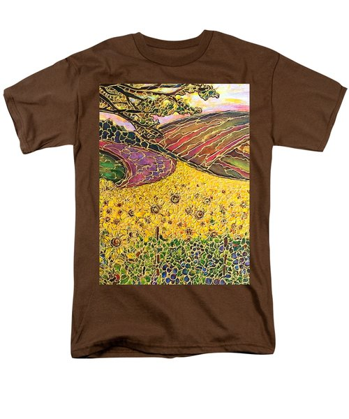 Men's T-Shirt  (Regular Fit) featuring the painting Sunflower Fields by Rae Chichilnitsky