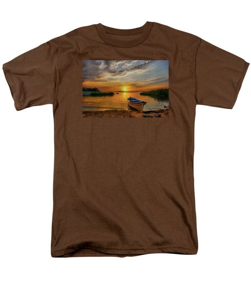 Sunset Over Lake Men's T-Shirt  (Regular Fit) by Lilia D