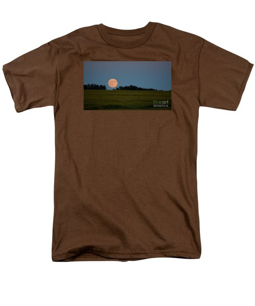 Men's T-Shirt  (Regular Fit) featuring the photograph Super Moon Over A Bean Field by Mark McReynolds