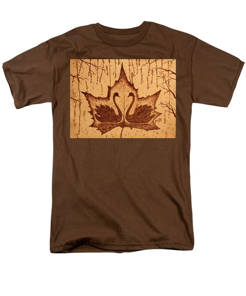 Men's T-Shirt  (Regular Fit) featuring the painting Swans  In Love Original Coffee Painting by Georgeta Blanaru