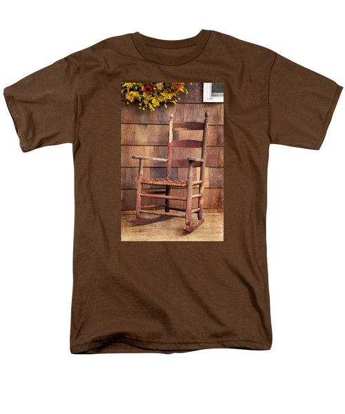 Men's T-Shirt  (Regular Fit) featuring the photograph Tappan Chairs Rocker, Sandwich, Nh by Betty Denise