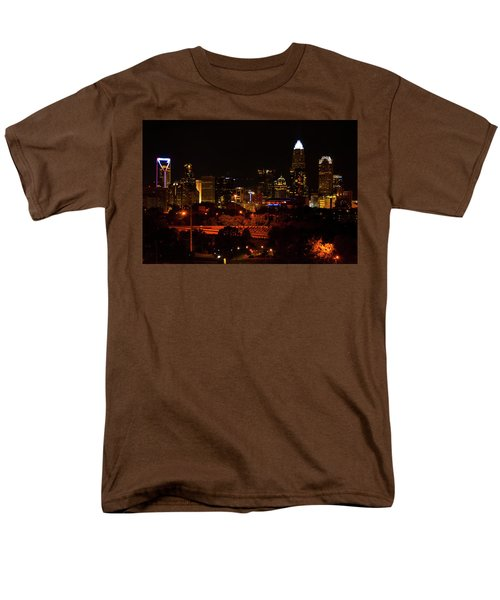 Men's T-Shirt  (Regular Fit) featuring the digital art The City Of Charlotte Nc At Night by Chris Flees