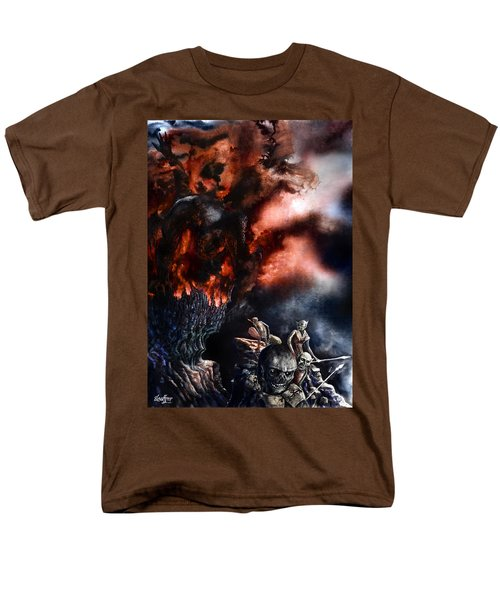 Men's T-Shirt  (Regular Fit) featuring the painting The Fall Of Azturath by Curtiss Shaffer