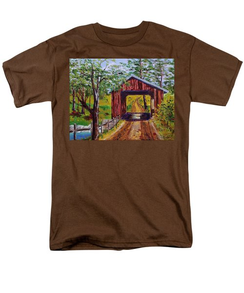 The Old Covered Bridge Men's T-Shirt  (Regular Fit) by Mike Caitham