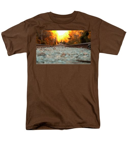 Men's T-Shirt  (Regular Fit) featuring the digital art The Railroad Tracks From A New Perspective by Chris Flees